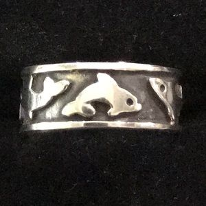 Oxidised Dolphins 925 Sterling Silver Ring Sz 4 &5